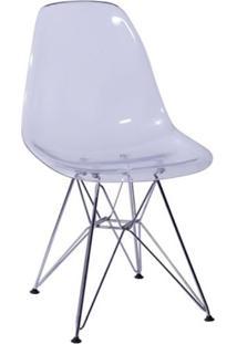 Cadeira Eames Base Cromada Incolor