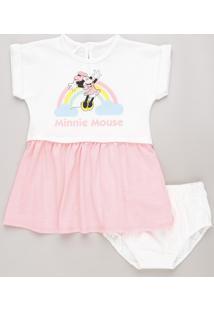 Vestido Infantil Minnie Mouse Neon Em Moletom Manga Curta + Calcinha Branco