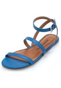 Sandalia Rasteira Tiras Retas Azul