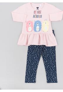 Conjunto Infantil De Blusa Com Babado Manga Longa Rosa Claro + Calça Legging Estampada De Corações Azul Marinho