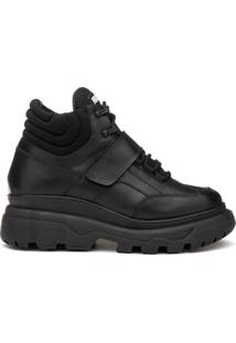 Sneaker Rock Fit York Plataforma Em Couro Preto C/ Sola Preta