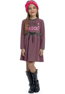 Vestido Infantil Manga Longa Cinza