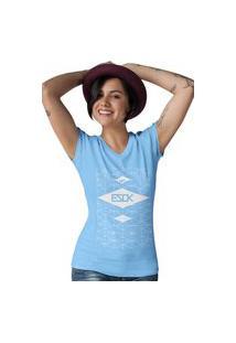 Camiseta Feminina Gola V Ezok Skate Lane Azul Claro