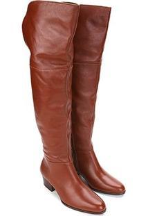 a0db9a3d0 Bota Couro Over The Knee Shoestock Zíper Feminina - Feminino