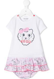 Kenzo Kids Vestido Com Estampa De Tigre - Branco