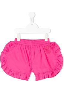 Monnalisa Ruffle Trim Embroidered Logo Shorts - Rosa