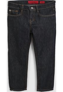 Calça Jeans Ellus Kids Infantil Pespontos Azul-Marinho