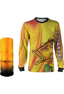 Camisa + Máscara Pesca Quisty Tucunaré Nervoso Amarelo Proteção Uv Dryfit Infantil/Adulto - Camiseta De Pesca Quisty