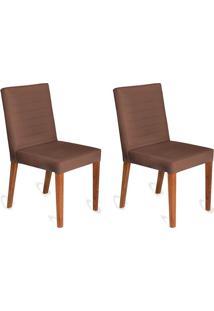 Conjunto Com 2 Cadeiras Dóris Veludo Chocolate