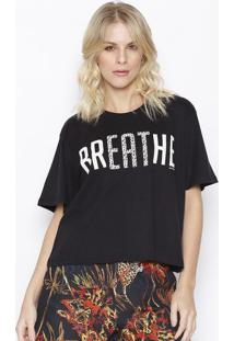"Camiseta Animal Print ""Breathe"" - Preta & Branca - Ssommer"