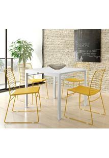 Mesa 1525 Branca Com 4 Cadeiras 1712 Color Uv Amarelo Ouro Carraro
