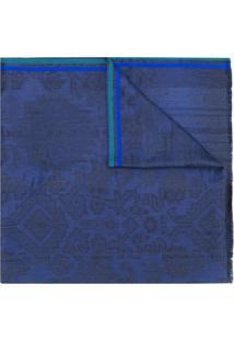 Etro Echarpe Estampada Com Acabamento Desfiado - Azul
