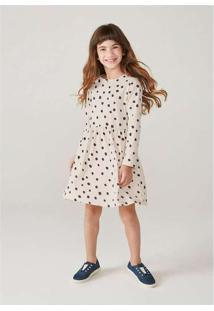 Vestido Infantil Menina Manga Longa Com Estampa Of