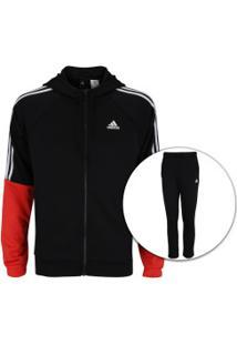 Agasalho Com Capuz Adidas Refocus - Masculino - Preto/Vermelho