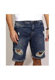 Bermuda Jeans Masculina Slim Destroyed Com Bolsos Azul Escuro