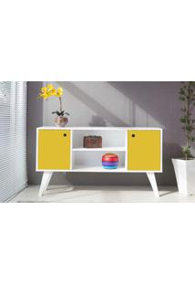 Armário Buffet Para Sala 02 Portas Com Prateleira Amarelo Cristal 135X38,5X73 Cm