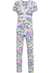 Pijama Longo Fly – Azul E Rosa