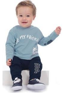 Camiseta Meia Malha Infantil Up Baby - Masculino-Azul