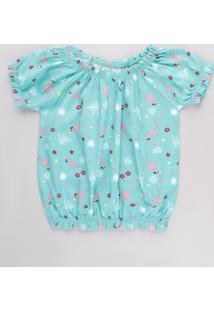 Blusa Infantil Ombro A Ombro Estampada Flamingos Manga Curta Verde Água