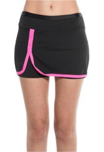 Shorts-Saia Donna Brasiliana Fitness Preto Com Pink