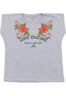 Camiseta Fun Friends Kids Menina Floral Cinza