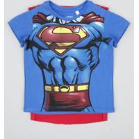 01cb88864 Camiseta Infantil Carnaval Super Homem Com Capa Manga Curta Azul Royal