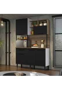 Cozinha Compacta Itatiaia Bali 5 Portas Preto Matte E Castanho