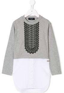 Dsquared2 Kids Camisa Com Detalhe De Suéter - Cinza