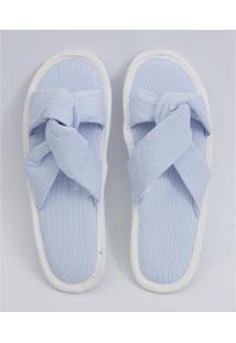 Pantufa Marisa Listrada Feminina - Feminino-Azul