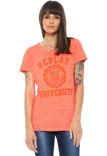 Camiseta Replay Estampada Rosa