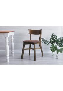 Cadeira De Madeira Estofada Bella - Castanho E Couro Marrom Envelhecido Tec. A102 - 44X51X82 Cm