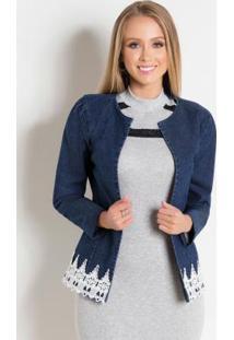 Jaqueta Jeans Azul Com Guipir Moda Evangélica
