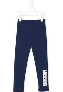 Moschino Kids Legging Com Estampa De Logo - Azul