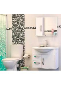 Gabinete Para Banheiro Apus 47X43X60Cm Com Lavatório E Espelheira Branco Cerocha