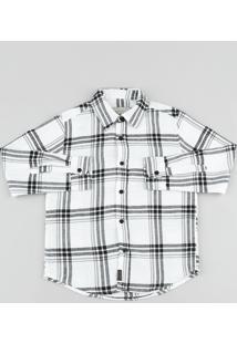 Camisa Infantil Em Flanela Estampada Xadrez Manga Longa Branca