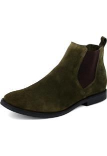Botina Gasparini Chelsea Boots Verde Militar