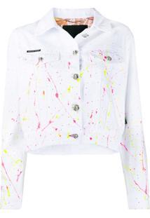 Philipp Plein Jaqueta Jeans Com Estampa De Pinceladas - Branco
