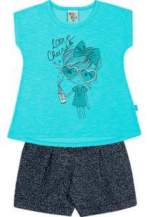 Conjunto Limãojeans Onça Primeiros Passos Menina Jeans Malha Flamemeia Malha - Feminino-Azul