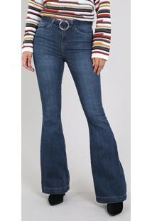 Calça Jeans Feminina Flare Com Cinto Azul Escuro