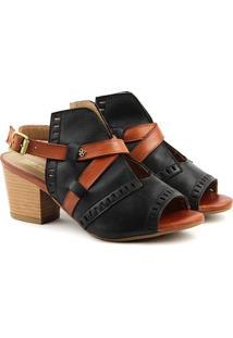 Sandália Salto Em Couro Feminina F1608 Preto/Whisky Burn 33