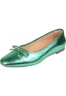 Sapatilha Feminina Rasteira Sapatteria 359031 Verde - Kanui