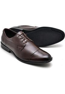 Sapato Social Masculino Em Couro Soft De Amarrar Reta Oposta - Masculino-Marrom