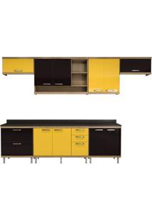 Cozinha Compacta Villa 10 Pt 5 Gv Argila, Preta E Amarela