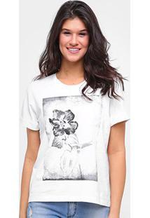Camiseta Forum Flores Feminina - Feminino-Areia