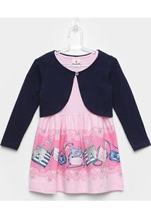 Conjunto Infantil Brandili Vestido E Bolero Manga Longa - Feminino