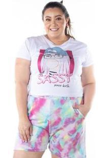 Camiseta Manga Curta Estampa Glitter Feminina - Feminino-Branco