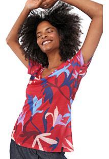 Camiseta Cantão Floral Do Mar Vermelha