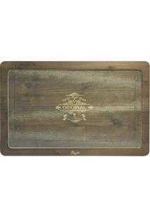 Tábua Retangular Vintage Madeira E Vidro 26X41 Cm Branco Bisetti