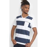49978785f1 Camiseta Kohmar Gola V Listrada Com Bolso Masculina - Masculino