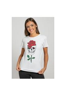 Camiseta Feminina Mirat Skull Red Rose Branco